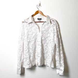 Vintage Sheer Lace and Silky Bomber Jacket